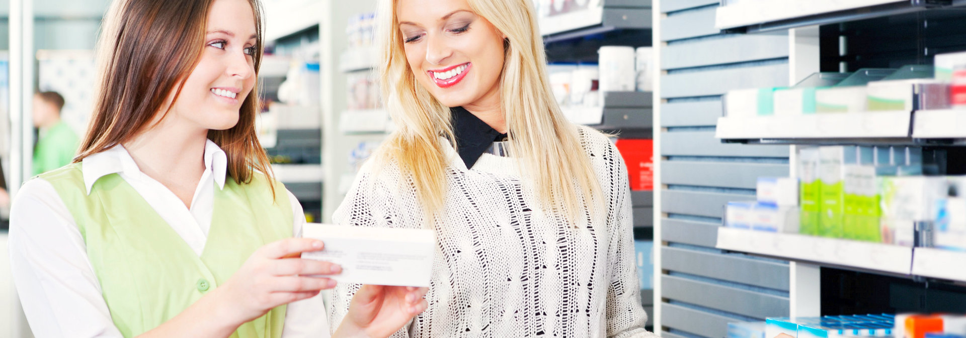 pharmacist guiding the customer