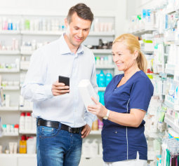 pharmacist attending the customer's need